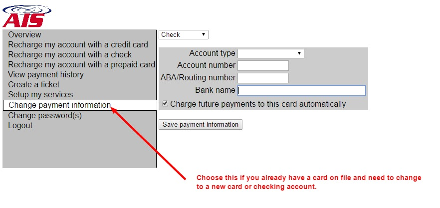 Change payment on file
